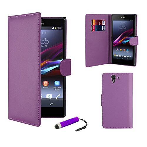 32nd® Book wallet PU leather case cover for Sony Xperia Z (L36H) + screen protector, cleaning cloth and touch stylus - Purple
