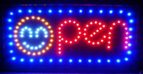 e-onsale LED Neon Light Open Sign With Animation On/off and Power On/Off two Switchs for Business (Smile/Happy Face) by e-onsale
