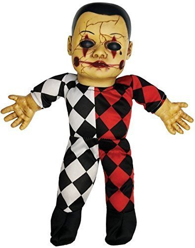 Fancy Me Spooky Sounds Haunted Harlequin Halloween Doll Ventriloquist Dummy Horror Party Decoration Handheld Prop (Harlequin) ()