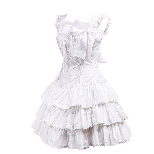 Womens Bow Kleid Suesse Retro Rueschen Weiß Lolita Nette Partiss Spitze Victorian 54Wqz4d