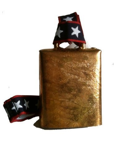 LOUD 4.5'' high Cow Bell for Sporting Events, Brass coated MOEN BELL with Stars and Stripes Webbing Cheering Bell by Cow Bell