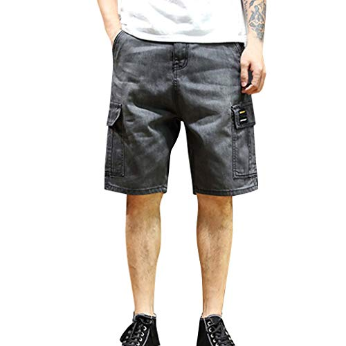 Mens Fashion Distressed Straight Relaxed Slim Fit Denim Short Overalls Jeans Pants Beach Surf Trunks (29, Gray)