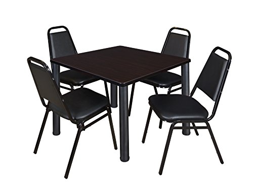 "Kee 42"" Square Breakroom Table- Mocha Walnut/ Black & 4 Restaurant Stack Chairs- Black"