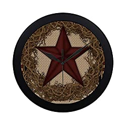 Modern Simple Country Primitive Barn Star Wreath Live Laugh Love Pattern Wall Clock Indoor Non-ticking Silent Quartz Quiet Sweep Movement Wall Clcok For Office,bathroom,livingroom Decorative 9.65 Inch