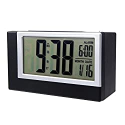 Mikey Store LED Electronic Desktop Digital Alarm Clock Large Display (black)