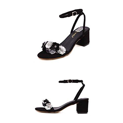 SHEO sandalias de tacón alto Mujeres de gamuza de tacón alto con una palabra hebilla sandalias Negro