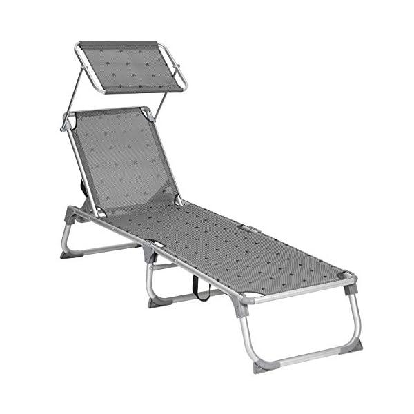 41QjnJL7R0L SONGMICS Sonnenliege, Liegestuhl, Gartenliege, Rückenlehne und Sonnendach verstellbar, klappbar, leicht, 55 x 193 x 31…