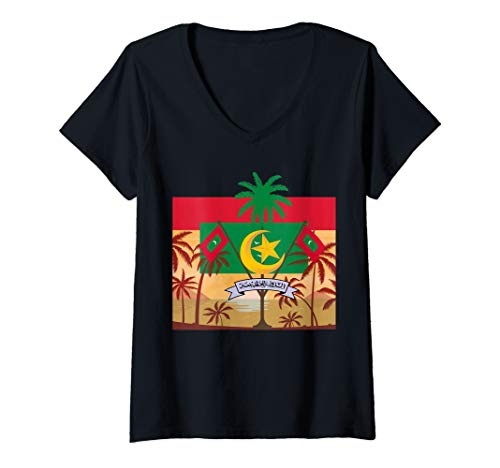 Womens Palm Trees Sunset with Flag and National Crest of Maldives V-Neck T-Shirt