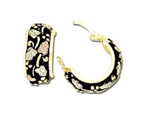 C Hoop Earrings, Antiqued, 10k Yellow Gold, 12k Rose Gold Black Hills Gold Motif by Black Hills Gold Jewelry