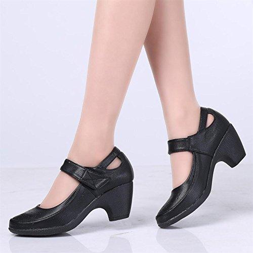 Zapatos De Baile Hembra Adulta De Mediana Edad Moderna Estrías De Primavera Y Verano Zapatos De Baile Zapatos De Baile Inferior Suave Negro