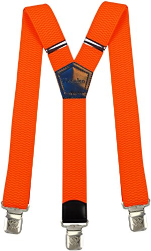 Mens Suspenders Wide Adjustable and Elastic Braces Y Shape with Very Strong Clips - Heavy Duty (Neon -