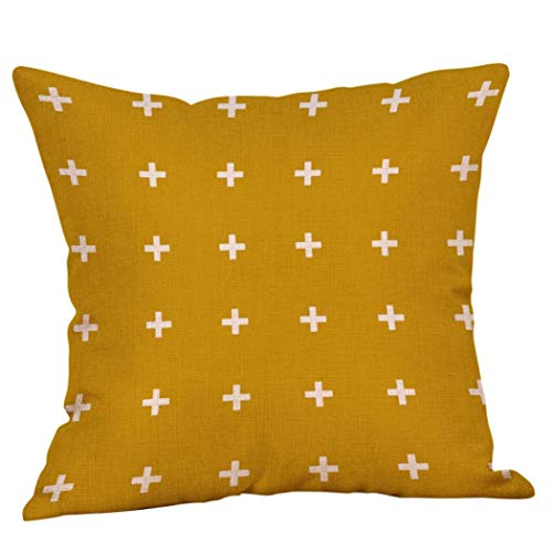 Newhomestyle Throw Pillow Cover Mustard Yellow Print White Cross Flax Vivi Color Home Decor Square Cushion Pillowcase 20x20 - Square Cross Yellow