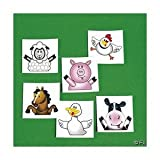 72 FARM ANIMAL/BARNYARD TATTOOS/Cow/DUCK/PIG/SHEEP/HORSE/CHICK/Birthday PARTY FAVORS/6 DOZEN