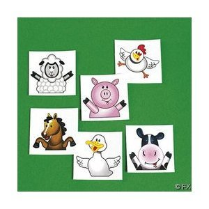 72 FARM ANIMAL/BARNYARD TATTOOS/Cow/DUCK/PIG/SHEEP/HORSE/CHICK/Birthday PARTY FAVORS/6 - Animals Farm Barn