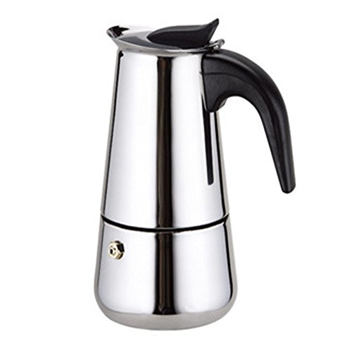WeHome Coffee Maker Percolator Stovetop Espresso Maker Moka Pot Stainless Steel Italian Coffee Maker with Permanent Filter and Heat Resistant Handle,Ideal to Brew Coffee at Home Office,4 Cups/200ML