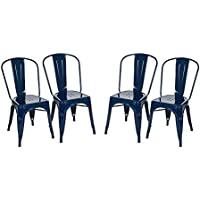 Glitzhome Vintage Stackable Metal Side Chairs Light Navy Blue, Set Of Four