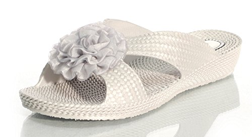Mules de verano Silver Ladies Diamonds flor Womens soporte Ella sandalias without Nicky nxZEqWp