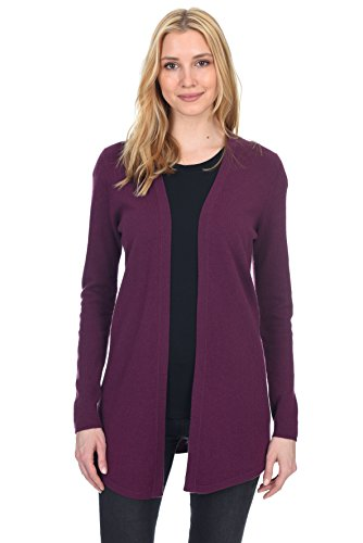 State Fusio Women's Wool Cashmere Soft Shaker-Stitch Open Cardigan Sweater Premium Quality Violet ()