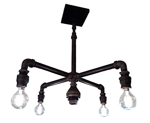 Amazon Com Black Pipe Chandelier 4 Light Industrial Fixture Handmade