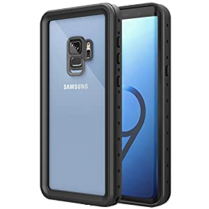 MoKo Waterproof Case for Samsung Galaxy S9, Shock-absorbing Bumper Submersible Cover, Ultra Protective Case with Built-in Screen Protector for Galaxy S9 5.8 Inch 2018 - Black + Grey
