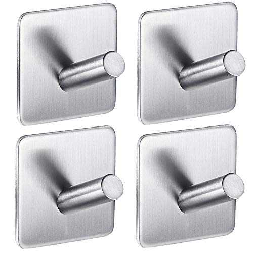 IKDMJ 3M Self-Adhesive Bevel Angle Wall Hooks Robe & Towel Hooks,Strong Stainless Steel,4 Pcs,1.8