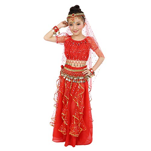 Maylong Girls Arabian Princess Dress up Belly Dance Outfit Halloween Costume (Large, red)
