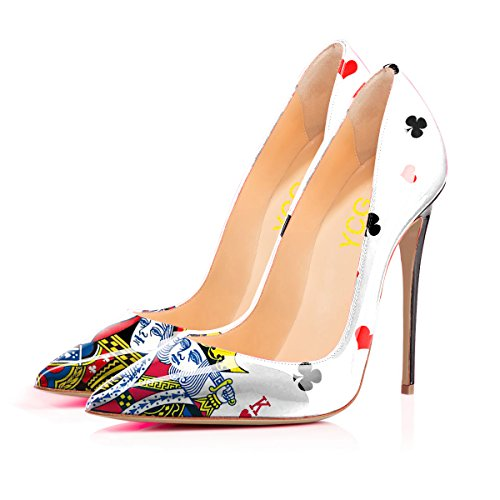 Lime Green Pumps - Women's High Heels Pumps Poker King&Queen Printing Slip on Shoes US 7
