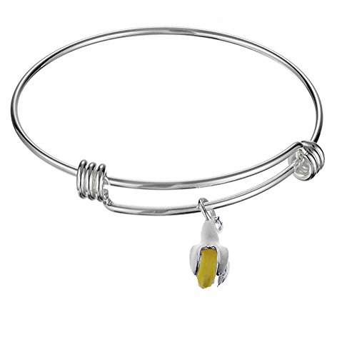 Adjustable Expandable Silvertone Stainless Wire Bangle Bracelet With Unique Pendant Charm To Choose From (Banana Charm)