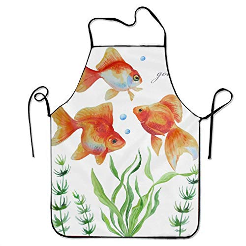 - dvdaawk Professional Bib Apron -Watercolor of Goldfishes - Durable, String Adjustable, Machine Washable, Comfortable and Easy Care Aprons