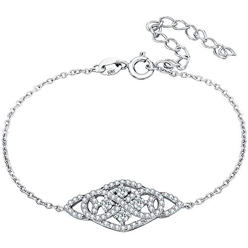 EVER FAITH 925 Sterling Silver CZ Vintage Inspired Art Deco Figure 8 Infinity Link Bracelet Clear