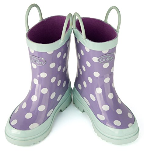 Pictures of Outee Toddler Girls Kids Rain Boots Rubber GLR17BDOTPUR7 6