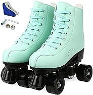 Redson Womens Roller Skate Shoes, High-top PU Leather Roller Skates 4 Wheel Roller Skates for Beginner, Adjust