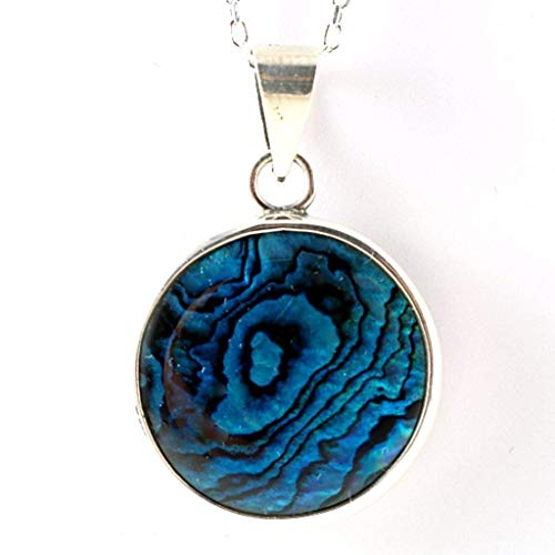 (Sterling Silver Natural Round Blue Paua Abalone Shell Cabochon Handmade Pendant Necklace 16+2 inches Chain )