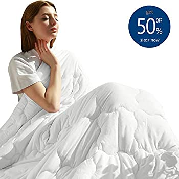 Image of MAXIJIN Modern Weighted Blankets 15 lbs for 130-170lb Adult 100% Cotton Twin Size Heavy Blanket for Sleeping (48'x72' 15lbs, White) MAXIJIN B07KS59R2Y Weighted Blankets