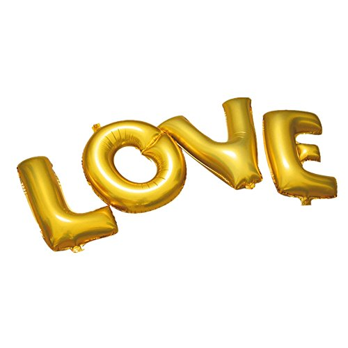 aerfas letters love balloons group shaped helium foil balloons for bridal wedding celebration birthday party decoration supplies 40 inch gold