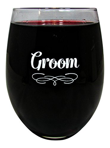 Wedding Party 15 Ounce Glass Stemless Wine Glass (Groom)