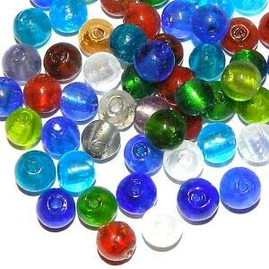 G3517 Assorted Color 10mm Handmade Silver Foil Round Glass Bead Mix 25pc Making Beading Beaded Necklaces Yoga Bracelets