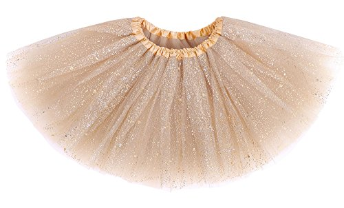 (AshopZ Baby Girl's Dress-Up Tulle Tutu Costumes Skirt w/Sparkling Sequins,Golden)