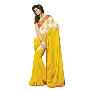 Shilp-Kala Faux Georgette Printed Yellow Colored Saree SKVSP3958