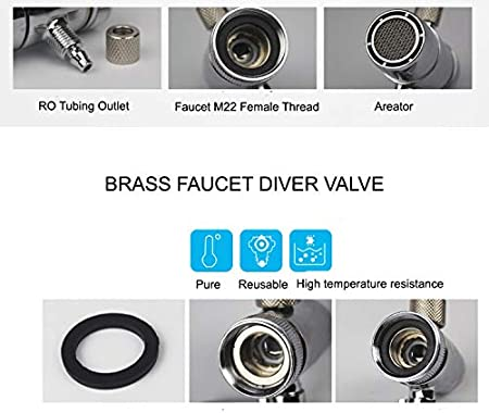 +1//2 Threads for Faucet Diverter Valve M22 to M24 Faucet Adapter top +15//16-27 Male bottom PureSec 2020 Male Threaded Adapter 55//64-27 Male M22 to M24 Faucet adapter