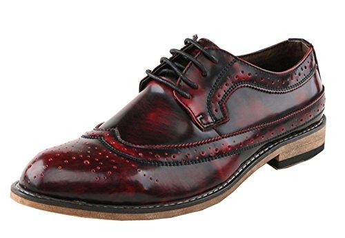 Minitoo ,  Herren T-Spangen Sandalen mit Keilabsatz , Rot - Rosso (Vino rosso) - Größe: 40 EU