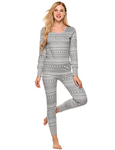 tted Thermal Pajama Set Contrast Patterned Knitted PJS Sets (Gray, XL) (Fitted Thermal)