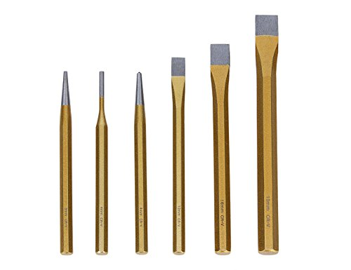 Punch and Chisel Set, Ankoow 6Pcs Assortment of Pin Punch, Tapered Punch, Center Punch and Cold Chisel Set for Brickwork, Concrete, Metal, and Stone