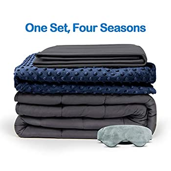 Image of BUZIO Weighted Blanket 4 Piece Set with 2 Removable Duvet Covers & 1 Weighted Sleep Mask, Heavy Blanket for Hot & Cold Sleepers - Kids or Adults (48 x 72 inches - 12 lbs, Navy Blue) BUZIO B07S6P4426 Weighted Blankets