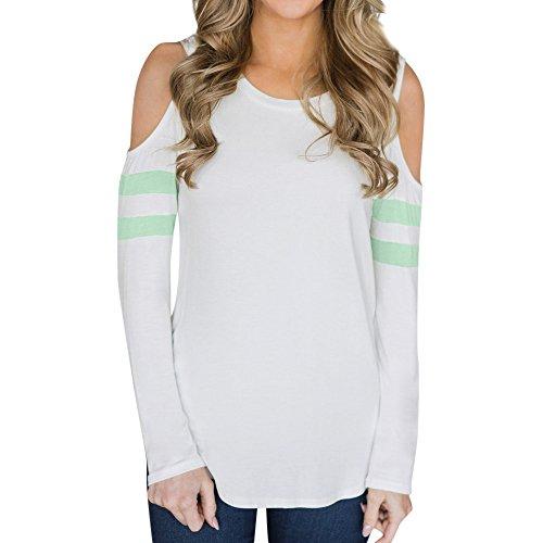 トップス 女性、三番目の店 レディース カジュアル ルーズ オフショルダー ロングスリーブ Oネック Tシャツ ブラウス
