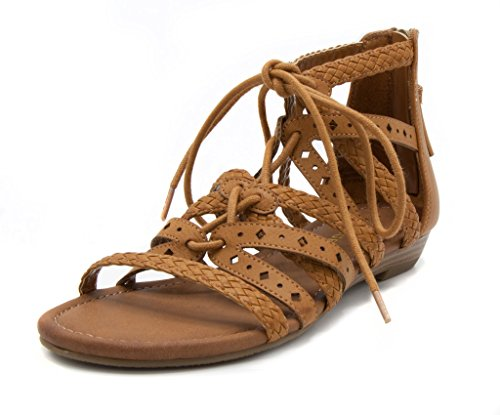 Rampage Women's Shelia Gladiator Braided Flat Lace Up Sandal with Tassel 8 Cognac