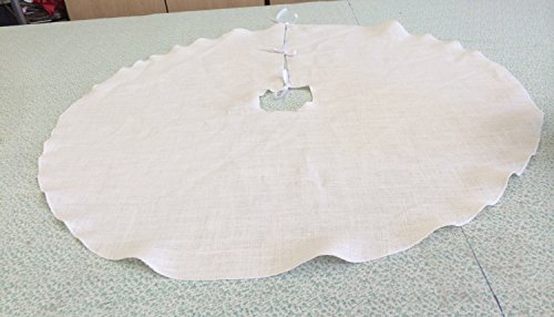 White Burlap Christmas Xmas Tree Skirt 42 Inch Round with Matching ()