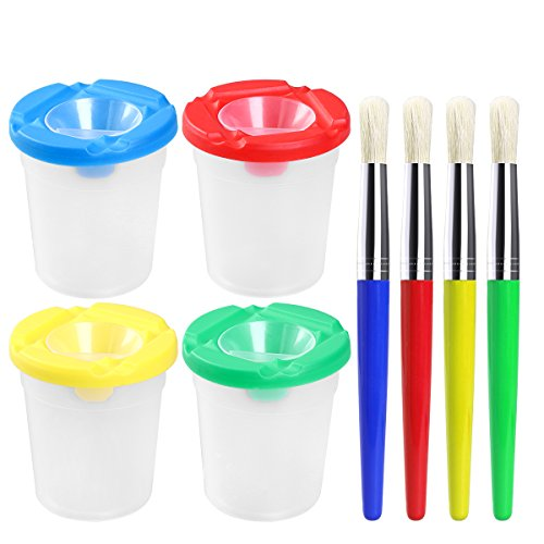 Brush Tempera Paint Tube - Spill Proof Paint Cups ULTNICE 4pcs Non Spill  Paint Cup + 4pcs Paint Bristle Brush Assorted Color
