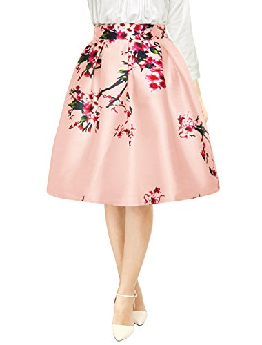 Allegra K Woman Floral Prints High Waist Pleated A Line Midi Skirt Pink M (A Line Skirts For Women)