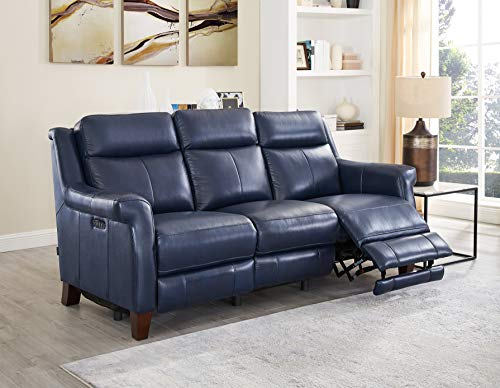 Hydeline Navona Leather Power Recline, Headrest, Lumbar Set with USBPorts, Sofa, Navy